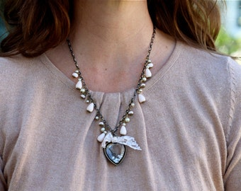 Romantic large filled heart pendant necklace with pearl and pale pink bead accents and tied lace, Take My Heart