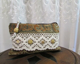 Lace Clutch Bag, bohemian fabric purse, handmade make up bag, thick upholstery chenille fabric, clutch wallet purse