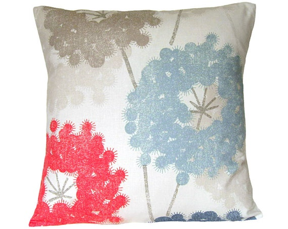 Dusty Blue Decorative Pillows : Premium Pillow Cover red blue dusty blue taupe pillow