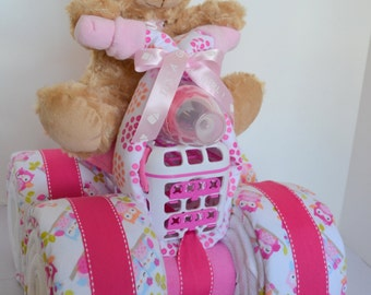 Diaper Cake, 4-Wheeler, Quad,Owl Blankets,Motorcycle Baby Shower,Girl Baby Gift, Shower Centerpiece, Baby Shower Gift,Unique, Teddy Bear