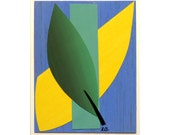 Primary colors art collage, nature inspired, affordable art, postcard size art