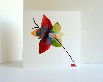 Flower art collage, Floral artwork, Original nature inspired art, spring fantasy