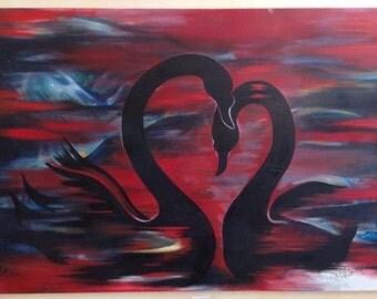 Black Swans - Original Oil Painting