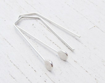 Contemporary Argentium Sterling Silver Earrings / Straight Line Earrings / Hammered Circle / Geometric / Minimalist / Eco-Friendly / 2119