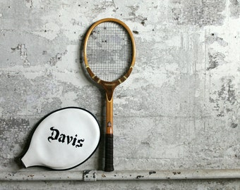 Vintage Wooden TAD Tennis Racquet with Cover