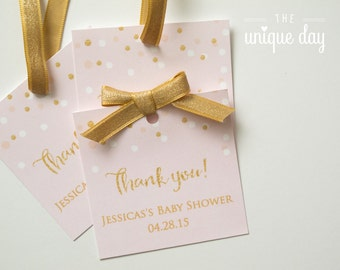 "Pink & Gold Glitter Favor Tags Baby Shower Labels Thank You Tags 3"" Square Pastel Pink and Gold DIY Printable or Printed // BS-11"