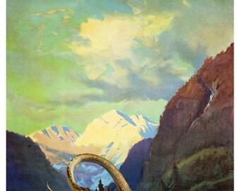 Alaska Art, Digital Print, monster Art, Alaskan Art, Vintage Poster, Sea Monster, Geekery, Alternate Histories, Sci Fi Art
