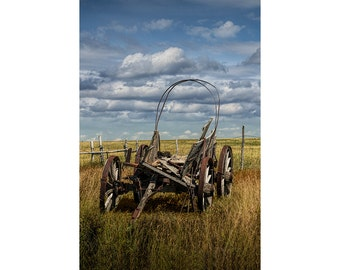 Abandoned Covered Wagon on the Prairie in South Dakota at 1880 Town No.394 A Pioneer Farm Landscape Photograph