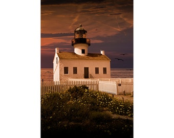 Cabrillo National Monument Lighthouse at Sunset on Point Loma in San Diego California No.03833 A Fine Art Nautical Seascape Photograph
