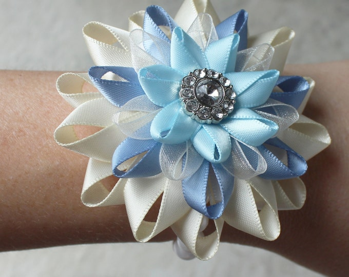 Light Blue Corsage, Blue Flower Bracelet, Ivory, Cornflower Blue, French Blue, Wedding Corsage, Flower Wrist Corsage, Satin Flower Corsage