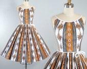 Vintage 50s Cotton Dress / 1950s Belted SUNDRESS STRIPE Gray Brown Ornate Floral Batik Swirl Print Full CIRCLE Skirt Garden Party Xs S Small
