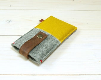 IPHONE 5/6/SE/6+ case felt - yellow grey - leather closure