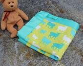 Baby Organic Security Blanket | Organic Sherpa | Organic Cotton | Sheep & Lambs | Baby Boy Blanket | Baby Girl Blanket | Newborn Blanket