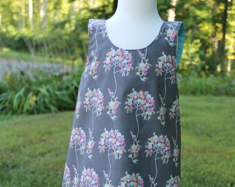 Baby Girl Dress - Gray - Baby Dress - Reversible