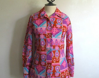 Vintage 1970s Blouse Alex Colman Pink Psychedelic Floral Shirt Top Medium