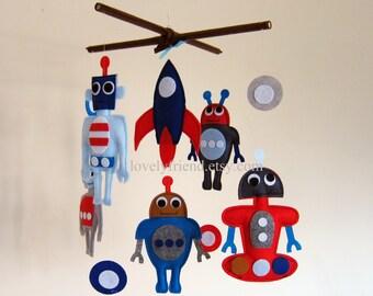 Baby Mobile - baby robots mobile - robot baby boy mobile - red and blue robot mobile - blue and grey robot nursery mobile - robot boy mobile