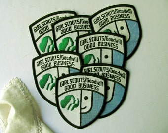 Vintage Girl Scouts Badge Scouting Merit Badge Patch Goodwill Service NOS Large Authentic Scouts Badge Woven Colorful GSA Scout Collection