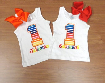 Birthday Rainbow Number Personalized Shirt 1st Birthday 2nd 3rd 4th 5th 6th 7th 8th 9th Girl Tank Short Long Sleeve Matching Boutique Bow