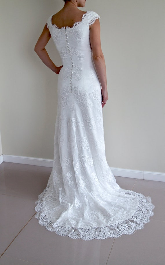 Wedding Dresses Modified A Line : Lace wedding dress modified a line cap sleeved