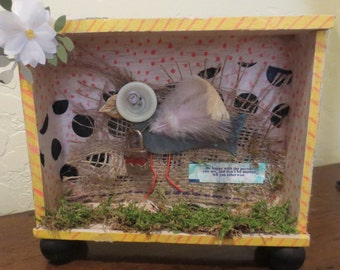 Found Object Collage of Bird in Repurposed Cigar Box