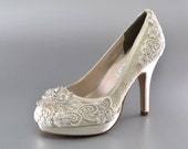 Wedding Shoes Lace Covered Bridal Shoes Womens Wedding Shoes Wedding Heels Vintage Shoes Wedding Shoes- Women's Bridal Shoes - PBT-0382