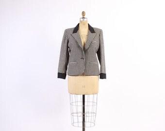 Vintage 80s BLAZER / 1980s YSL Black & White Houndstooth Tailored Wool Yves Saint Laurent Jacket M