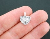 8 Heart Charms Antique Silver Tone 2 Sided - SC1875