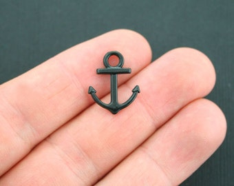 8 Black Anchor Charms Black Tone 2 Sided - SC4953