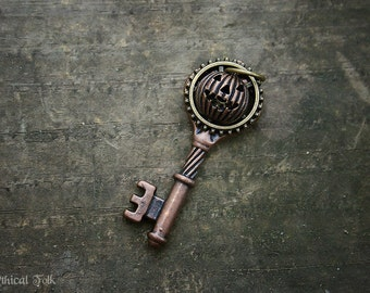 Copper Steampunk Pumpkin Key Necklace