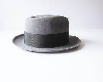 Vintage Mens Fedora Knox New York - Custom Edge Fur Felt Hat - Formal Hat - Classic M Rothschild Co  - Silvertop Gray Trilby - Medium Size 7