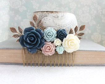 Big Rose Hair Comb Romantic Floral Collage Navy Blue Rose Cream Ivory Flower Hair Piece Blush Pink and Blue Leaf Bridal Comb Bridemaid Gift