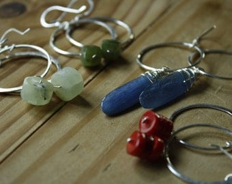 Gemstone Drop Earrings—Your Choice—Gemstone and Sterling Silver—Ready-to-Ship