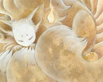 Sleeping Ninetails / Kitsune, Nine Tailed Fox / Japanese Style / 5x7 Fine Art Print