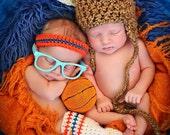 Newborn Baby Photo Prop Thunder Basketball Headband and Leg Warmers