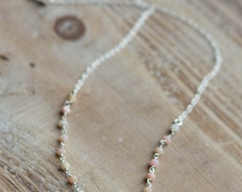 Pink Opal Necklace - Gemstone Necklace - Blush Pink - October Birthstone - Wedding Bridal Jewelry - Beaded Necklace