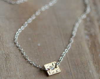 Gold Bar Necklace - Tiny Rectangle Hammered Gold Bar Sterling Silver Chain - Mixed Metal - Cubic Zirconia