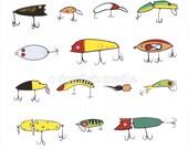 "11 x 14"" Fishing Lures Screen Print Poster"