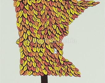 MN Grown - Autumn   Minnesota Tree Screenprint Poster
