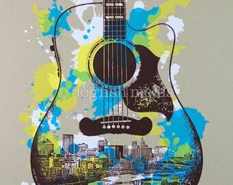 "18 x 24"" St. Paul Guitar Screen Print Poster - Saint Paul Music Poster"