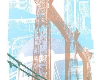 Hennepin Bridge Screen Print Poster - Minneapolis MN
