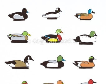 "11 x 14"" Duck Decoys Screen Print Poster"
