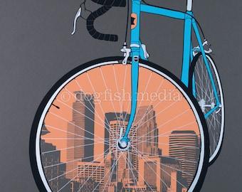 """11 x 14"""" City Bike - Minneapolis Cycling Poster"""