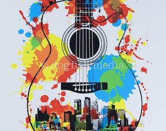 """11 x 14"""" Minneapolis Guitar Screen Print Poster"""