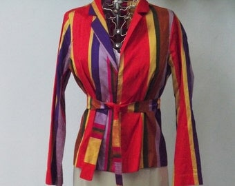 Womens Rainbow Striped Long Sleeve Shirt Jacket, Multicolored Colorful Short Belted Jacket, Silk Top, Size 4 S XS Small
