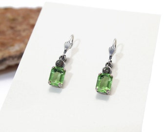 Emerald Green Swarovski Crystal Dangle Earring Emerald Cut Approx. 1.75 ct. Each