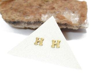 Initial Stud Earrings Small Letter H Stud Earrings
