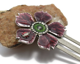 Vintage Enamel Flower Bookmark