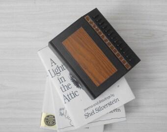 vintage plastic address book list finder / telephone book / office phone book / brown black