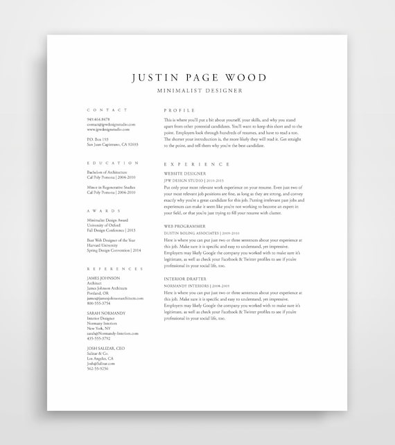 traditional resume template elegant classic professional clean design executive format builder download