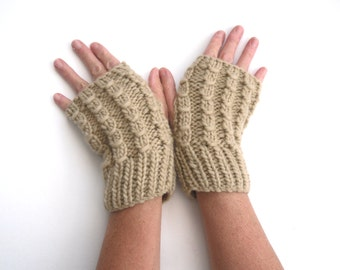 Chunky fingerless gloves , winter warmers , cream cable gloves , warm accessory , hand warmers , christmas gift for her , ready to ship